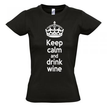 Dames Shirt Keep calm and drink wine